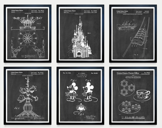Disneyland Wall Art, Disneyland Art, Disneyland Patent, Walt Disney, Magic Kingdom, Disney World, Disney Patent, Disney Art, Disney Gift