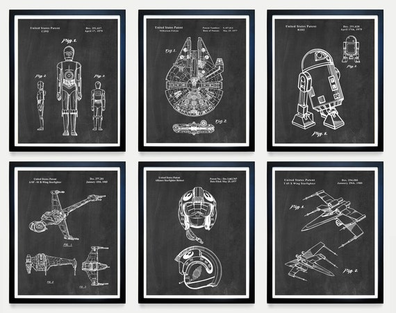 Star Wars Patent Art, The FORCE, Millennium Falcon, X Wing, R2D2, C3PO, Star Wars Wall Art, Sci Fi Poster Star Wars Poster, Star Wars Gift