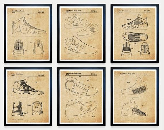 Nike Air Jordan Shoe Patent Set - Air Jordan Art - Nike Art - Nike Poster - Nike Patent - Air Jordan Patent - Jordan Sneakers - Sneakerhead