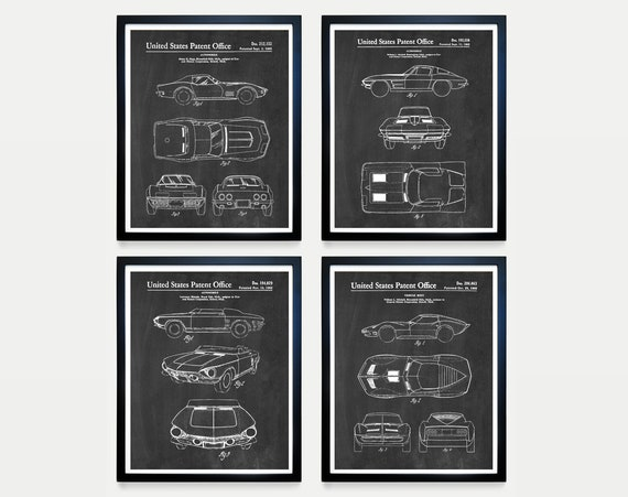 Corvette Patent Art - Corvette Poster - Corvette Patent Art - Corvette Wall Art - Car Lover - Chevrolet - Corvette Gift - Boys Room