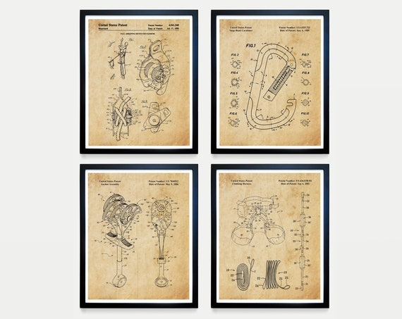 Climbing Wall Art - Climbing Patent - Rock Climbing - Carabineer - Vintage Climbing - Climbing Poster  Crampon - Climbing Art - Mountain Art