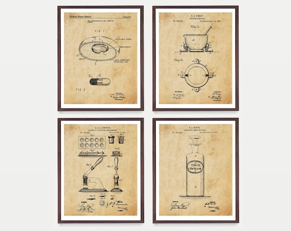 Drugstore Patent Prints - Drugstore Invention - Pharmacy Patent - Pharmacist - Pharmacist Gift - Pill - Medicine - Bio Tech Patent Art
