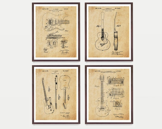 Guitar Patent Collection - Les Paul - Fender - Gretsch - Guitar Poster - Guitar Art - Guitar Wall Art - Guitar Patent - Fender Patent - Amp