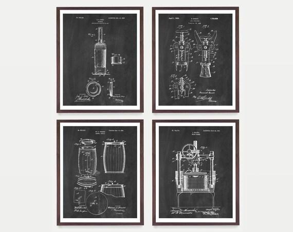 Wine Patent Art - Wine Patent - Wine Art - Wine Wall Art - Wine Decor - Wine Bar - Wine Rack - Cork Screw Wine Poster - Wine Gift