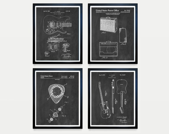 Guitar Patent Collection - Fender - Guitar Pick - Guitar Poster - Guitar Art - Guitar Wall Art - Guitar Patent - Fender Patent - Fender Amp