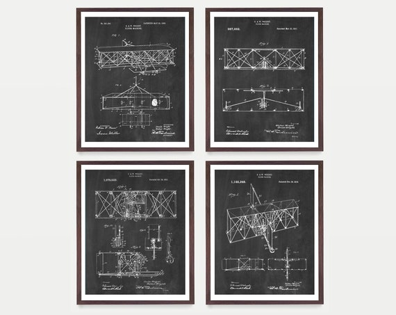 Wright Brothers Patent Art - Wright Brothers Poster - Airplane Art - Airplane Poster - Airplane Patent - Aviation - Pilot Gift - Pilot Art