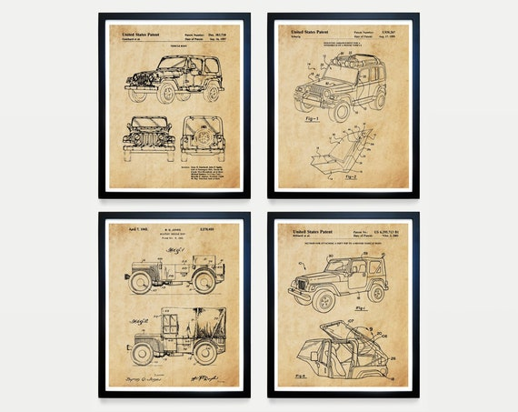 Jeep Wrangler - Jeep Poster - Jeep Patent - Jeep Art - Jeep Patent Art - Jeep Wrangler Patent - Vintage Jeep - Truck Patent - Willy's Jeep