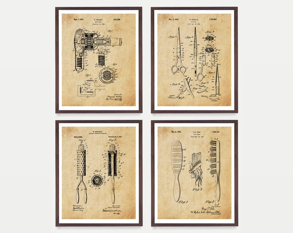 Hair Patent Print Set - Hair Inventions - Hair Art - Hair Style - Hair Poster - Hair Wall Art - Hair Salon - Beauty Parlor - Style - Fashion