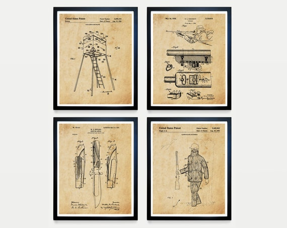 Hunting Patent Art - Hunting Poster - Winchester Rifle - Hunting Blind - Camo - Deer - Deer Hunting - Deer Hunter - Hunting Decor - Gift