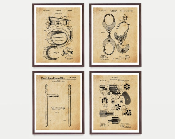 Police Patent Art - Police Art - Police Poster - Police Wall Art - Police Officer - Law Enforcement - Revolver Patent - Police Academy