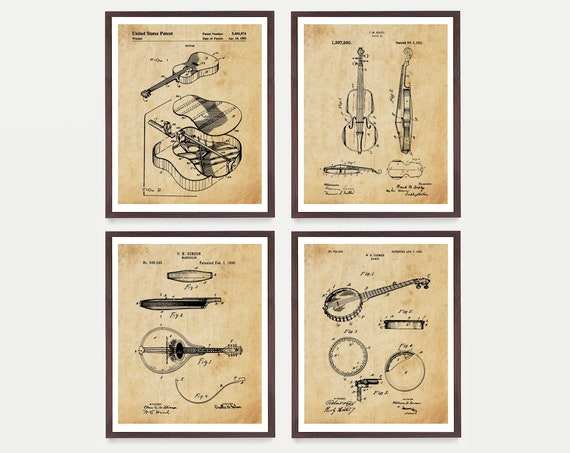 Bluegrass Music Patent Art - Bluegrass Art - Bluegrass Poster - Bluegrass Wall Art - Country Music Art - Mandolin - Banjo - Guitar - Fiddle