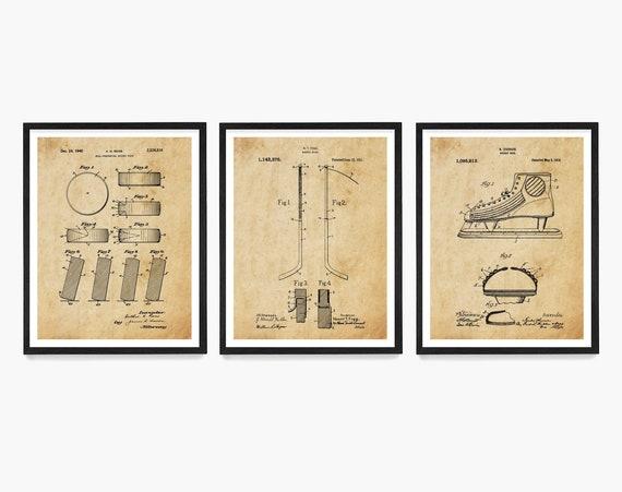 Hockey Poster, Inventions of Hockey, Ice Hockey Art, Hockey Art, Hockey Puck, Hockey Stick, Hockey Skate, Hockey Patent, Hockey Print