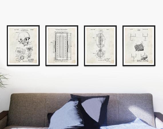 Football Poster, Football Gift, Football Patent Art, Football Wall Art, Boys Room Poster, Vintage Football Decor