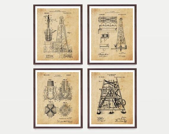Oil Patent - Oil Art - Oil Derrick - Oil Rig - Oil Rig Poster - Vintage Oil - Oil Drilling - Drill Bit - Oil Drill - Oil Derrick Patent
