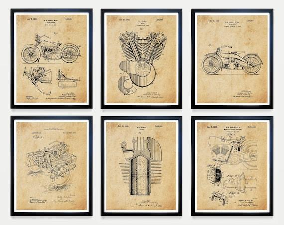Harley Davidson Poster - Harley Davidson Patent - Harley Motorcycle Art - Motorcycle Poster - Motorcycle Patent - Harley Patent Harley Bike