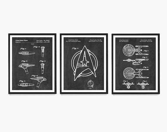 Sci Fi Patent Wall Art, Enterprise Patent Poster, Sci Fi Gift, Sci Fi Poster, Space Ship Poster, TV Show Decor
