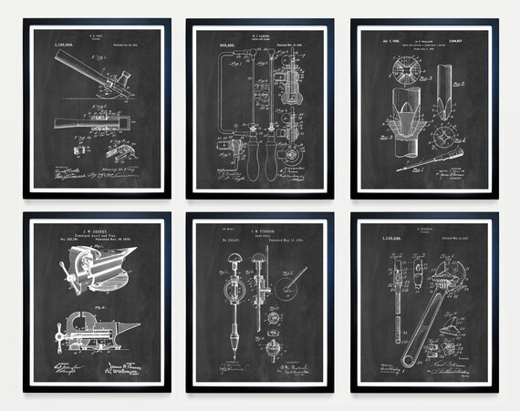 Tool Patent Collection - Tool Art - Wood Shop - Hammer Patent - Tool Poster - Saw Patent - Screw Driver Patent - Wrench Patent - Tool Art