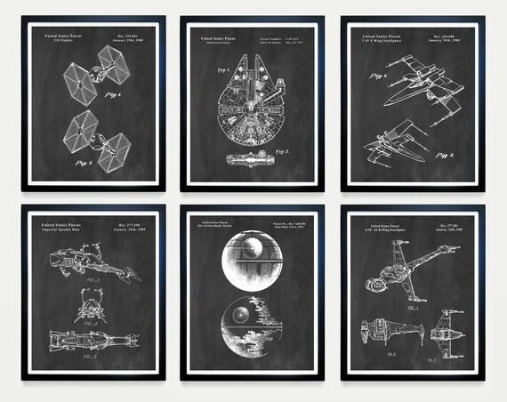 Star Wars Patent Art - Star Wars Poster -  Millenium Falcon - TIE Fighter - Star Wars Art - Star Wars Gift - Sci Fi POster - Death Star Art