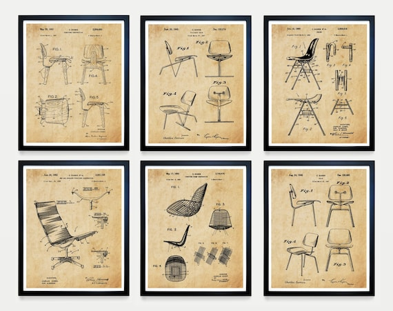 Eames Poster, Eames Chair, Eames Patent , Charles Ray Eames Art, Eames Decor, Eames Chair Patent, Mid Century Poster, Mid Century Art