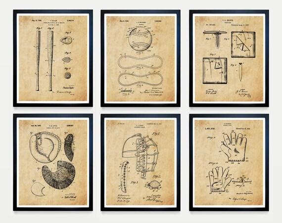 Baseball Patent Print Set - Baseball Art - Baseball Wall Art - Baseball poster - Baseball Patent - Baseball Gift - Boys Room Art