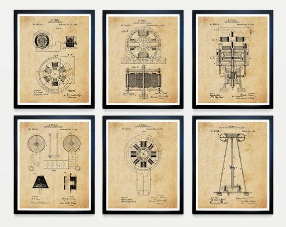 Tesla Patent Art, Tesla Art, Nikola Tesla, Tesla Poster, Engineering Patent, Tesla Coil, Tesla Motor , Patent Art, Nikola Tesla Patent