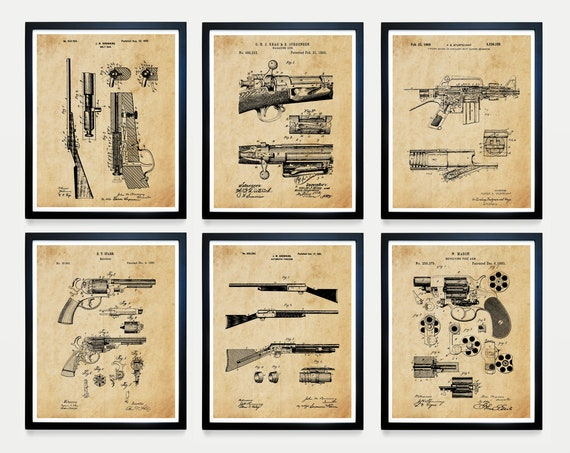 Gun Patent Art - Gun Art - Firearm Patent - Firearm Art - Gun Poster - Gun Wall Art - Rifle Patent- Firearm Art - Revolver - Gun Gift