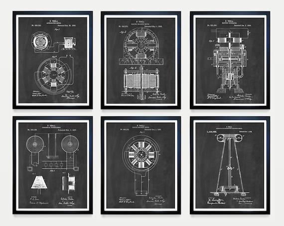 Tesla Patent Art - Tesla Art - Nikola Tesla - Tesla Poster - Engineering Patent - Tesla Coil - Tesla Motor - Patent Art  Nikola Tesla Patent