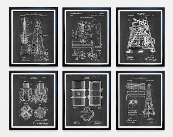 Oil Patent Art, Oil Art, Oil Derrick, Pump Jack, Oil Drum, Drilling, Oil Wall Art, Crude, Energy Art, Pump Jack Patent, Wall Art
