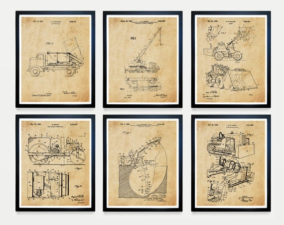 Construction Art - Construction Patent - Construction Patent Poster - Construction Worker - Builder - Building - Building Patent - Crane