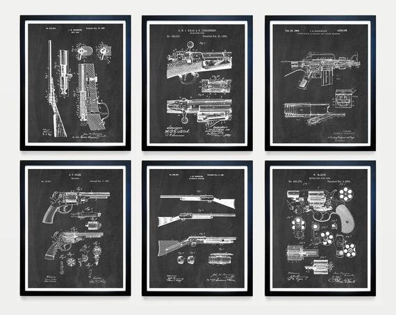 Gun Patent Art - Gun Art - Firearm Patent - Firearm Art - Gun Poster - Gun Wall Art - Rifle Patent - Revolver - Gun Wall Art - Gun Gift