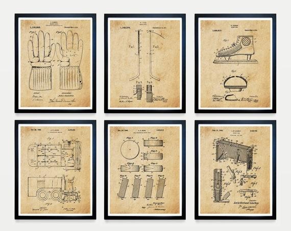 Hockey Patent Posters - Hockey Art - Hockey Wall Art - Ice Hockey - Hockey Patent - Hockey Sticks - Zamboni - Hockey Puck - Vintage Hockey