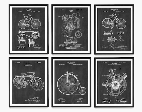 Bicycle Patent Wall Art, Bicycle Poster, Vintage Bicycle Decor, Bike Patent, Bike Art, Bike Poster, Bicycle Gift, Apartment Decor