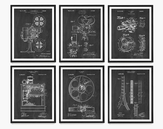 Film Patent Wall Art, Movie Poster, Home Theater Decor, Vintage Cinema, Living Room Wall Art, Film Student Gift, Film Buff, Projector Patent