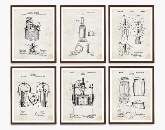 Wine Patent Art - Wine Art - Wine Decor - Wine Wall Art - Vineyard - Napa Valley - Wine Gift - Vintage Wine - Cork Screw Patent - Bottle