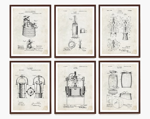Wine Patent Art - Wine Art - Wine Decor - Wine Wall Art - Vineyard - Napa Valley - Wine Gift - Vintage Wine - Cork Screw Patent - Bottle