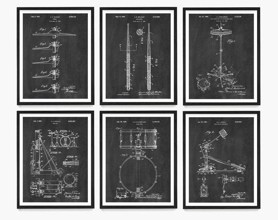 Drum Patent Posters, Drummer Gift, Drum Wall Art, Drum Kit Patent, Snare Drum Patent, Music Wall Art, Music Studio Wall Art