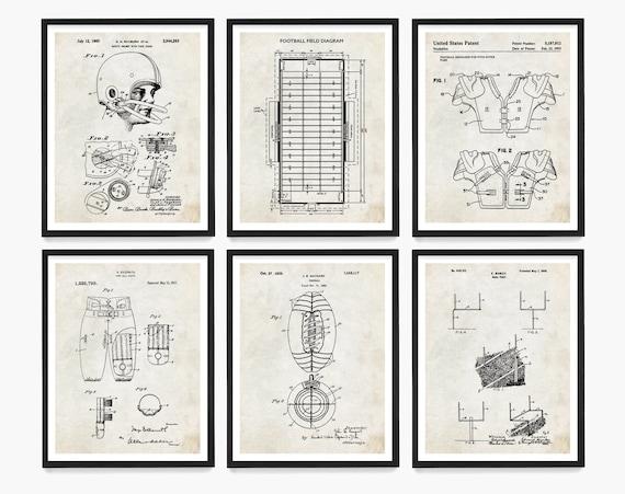 Football Patent Poster, Football Gift, Football Wall Art, Game Room Art, Football Theme, Boys Room Art