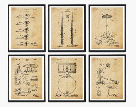 Drum Wall Art, Drum Kit Patent, Drummer Gift, Music Studio Poster, Music Poster, Drum Decor, Snare Drum Patent, Drum Stick Patent