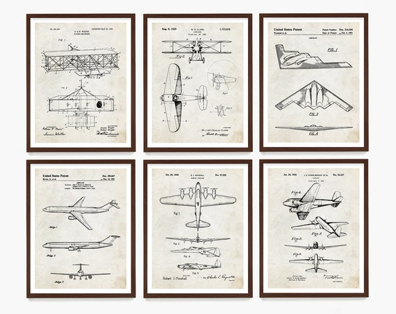 Airplane Patent Wall Art, Airplane Poster, Aviation Decor, Pilot Gift, Flying, Airplane Gift, Wright Brothers Poster