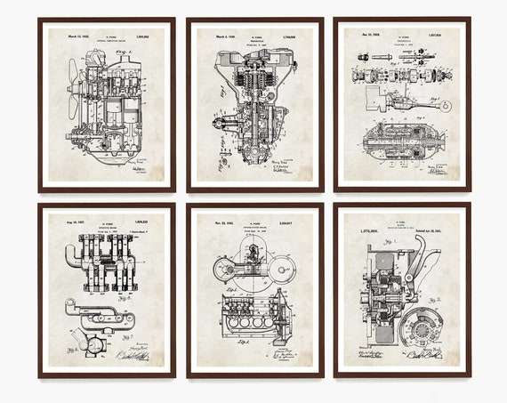 Mechanic Patent Wall Art, Henry Ford Patent Poster, Engine Patent, Transmission Patent, Piston Patent, Car Poster, Garage Decor, Car Gift