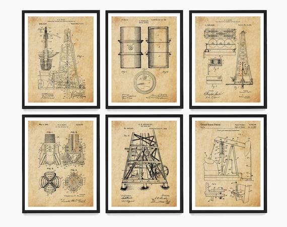 Oil Patent Art, Oil Wall Art, Oil Derrick Patent, Pump Jack Patent, Drilling Poster, Energy Art, Oil Company, Oil Gift