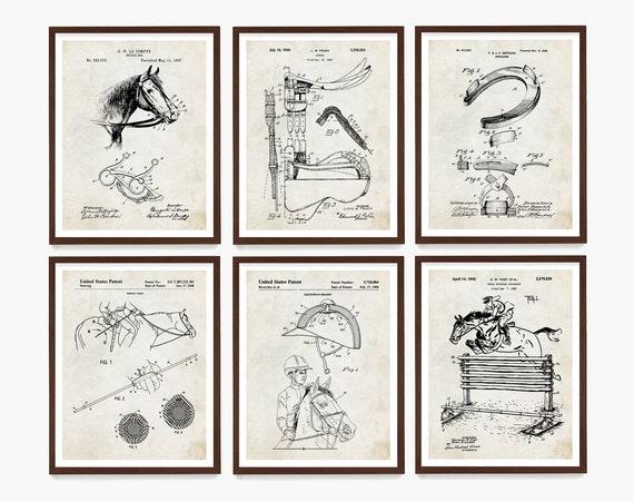 Horse Riding Patent Art, Horse Wall Art, Equestrian Art, Riding Poster, Horse Gift, Equestrian Gift, Horseshoe Patent Art, Farmhouse Decor