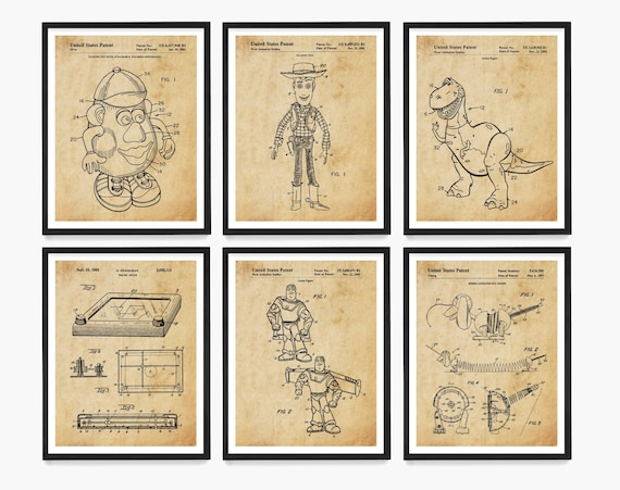 Toy Story Patent Art, Toy Story Art, Toy Story Poster, Buzz Lightyear, Woody, Kids Room, Mr Potato Head, Toy Patent, Toy Art, Nursery Art