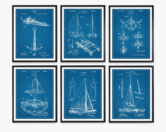 Sailing Patent Poster, Sailboat Patent Wall Art, Anchor Patent, Ship Wheel Patent, Maritime Theme, Sailing Gift, Nautical Decor