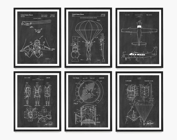 Skydiving Patent Art, Skydiving Poster, Parachute Patent Wall Art, Skydiving Gift, Paratrooper Patent, Team Skydiving, Golden Knights