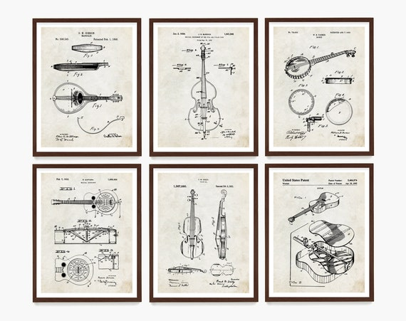 Bluegrass Music Patent Art, Bluegrass Art, Bluegrass Poster, Bluegrass Wall Art, Country Music Art, Mandolin, Banjo, Guitar, Fiddle