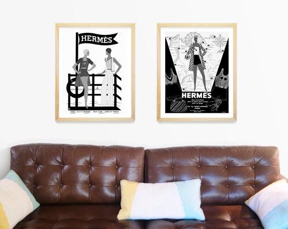 Hermes Poster - Vintage Women - Beach Fashion Art - Hermes Paris - Fashion Poster - Vintage Fashion - Fashion Art - Travel Poster - French