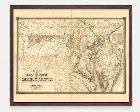 Maryland Map - Map Art - Map Decor - State Map - Maryland Art - Maryland Decor - Maryland Wall Art - Old Map - Map Wall Decor - Maryland
