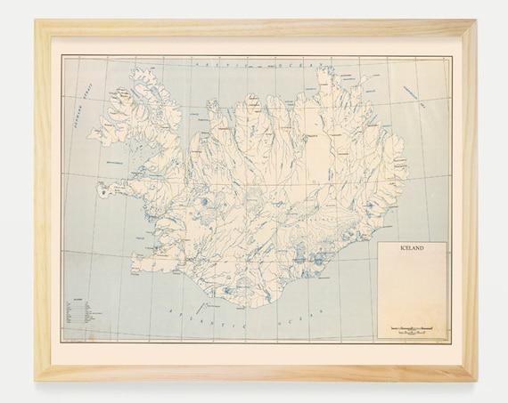 Iceland Map, Iceland Map Art,Map Decor, Vintage Map, Iceland Art, Iceland Poster, Reykjavik, Reykjavik Map, Reykjavik Art, Iceland Wall Art