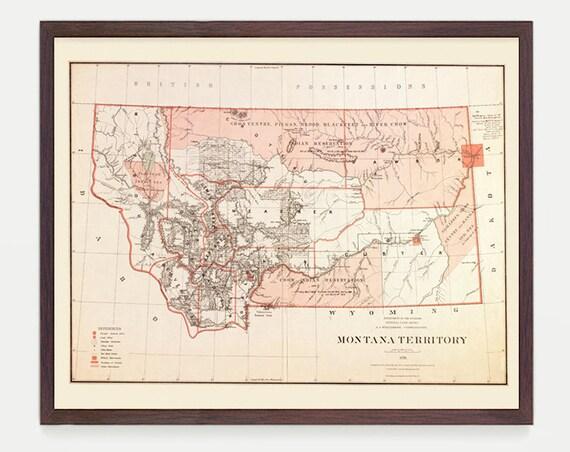 Montana Map - MT Map - Map Art - Map Decor - State Map - Montana Art - Montana Decor - Montana Wall Art - Old Map - Art - Big Sky - Helena